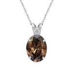 0.33 Cts of 4.9x3.6x2.6 mm SI1 Oval Natural Fancy Dark Orangey-Brown Diamond Scroll Solitaire Pendant in Platinum