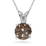 0.32 Cts of 4.1x4.1x2.9 mm SI1 Round Natural Fancy Dark Orangey Brown Diamond Solitaire Scroll Pendant in Platinum