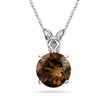 0.38 Cts of 4.5x4.5x2.7 mm SI1 Round Natural Fancy Brown Diamond Solitaire Scroll Pendant in Platinum