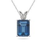 4.96 Cts of 11x9 mm AAA Emerald Cut London Blue Topaz Scroll Solitaire Pendant in 14K White Gold