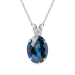 8.63 Cts of 14x10 mm AAA Oval Checker Board London Blue Topaz Scroll Solitaire Pendant in 14K White Gold