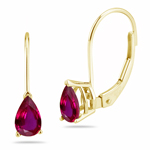 0.88 Cts of 6x4 mm AAA Pear Ruby Stud Earrings in 14K Yellow Gold with Lever Backs - Christmas Sale