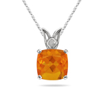 0.67 Cts of 7.2 x 7.5 mm Cushion Fire Opal Scroll Pendant in 14K White Gold