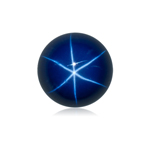 1.74-2.10 Cts of 7 mm Round Cabochon Synthetic German Lab Created Star Sapphire ( 1 pc ) Loose Gemstone