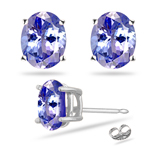 0.41-0.65 Cts of 5x3 mm AA Oval Tanzanite Stud Earrings in Platinum