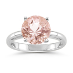 1.42-1.65 Cts of 8x8 mm AAA Round Morganite Scroll Ring in 14K White Gold
