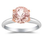 1.39-1.92 Cts of 8x8 mm AAA Round Morganite Solitaire Ring in 14K White & Pink Gold