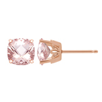 2.60-2.70 Cts of 7 mm AAA Cushion Checkered Morganite Scroll Solitaire Earrings in 14K Rose Gold