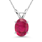 0.79-0.97 Ct of 7x5 mm AA Oval Ruby Solitaire Pendant in Platinum