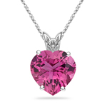 1.50 Cts of 8 mm AAA Quality Heart Morro Redondo Pink Tourmaline Scroll Solitaire Pendant in Platinum