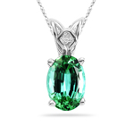 0.73 Cts of 7x5 mm AAA Oval Mint Green Tourmaline Scroll Solitaire Pendant in Platinum