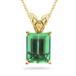 1.00-1.25 Cts of 7x5 mm AAA Emerald-cut Green Tourmaline Scroll Solitaire Pendant in 18K Yellow Gold