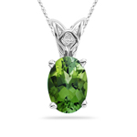 1.98 Cts of 9x7 mm AAA Oval Checkered Green Tourmaline Scroll Solitaire Pendant in Platinum