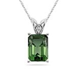 1.50-1.85 Cts of 8x6 mm AAA Emerald-cut Green Tourmaline Scroll Solitaire Pendant in Platinum
