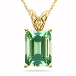 3.52 Cts of 10x8 mm AAA Emerald-cut Green Tourmaline Scroll Solitaire Pendant in 18K Yellow Gold