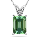3.23 Cts of 10x8 mm AAA Emerald-cut Green Tourmaline Scroll Solitaire Pendant in Platinum