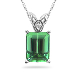 1.59 Cts of 7.5x5.5 mm AAA Emerald-cut Green Tourmaline Scroll Solitaire Pendant in Platinum