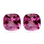 1.14-1.20 Cts of 5 mm AAA Cushion Checkered Pink Tourmaline ( 2 pcs ) Loose Gemstone