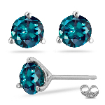 1.14-1.31 Cts of 5 mm AAA Round Russian Lab created Alexandrite Stud Earrings Martini Setting in 14K White Gold