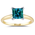 2.10 Cts of 7 mm AAA Princess Lab Created Alexandrite Ring in 14K Two Tone Gold