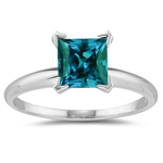 1.80-2.40 Cts of 7 mm AAA Princess Lab Created Alexandrite Ring in 14K White Gold