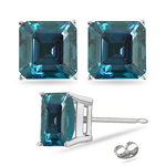 6.38-7.78 Cts of 8 mm AAA Asscher Cut Russian Lab Created Alexandrite Stud Earrings in 14K White Gold
