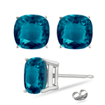 6.14-7.52 Cts of 8 mm AAA Cushion Cut Russian Lab Created Alexandrite Stud Earrings in 14K White Gold