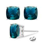 1.32-1.60 Cts of 5 mm AAA Cushion Checkered Russian Lab Created Alexandrite Stud Earrings in 14K White Gold