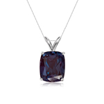 3.69-4.52 Cts of 10x8 mm AAA Elongated Cushion Lab Created Russian Alexandrite Solitaire Pendant in 14K White Gold