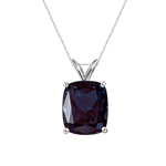 7.45-7.66 Cts of 12x10 mm AAA Elongated Cushion Lab Created Russian Alexandrite Solitaire Pendant in 14K White Gold