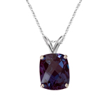 3.50-4.28 Cts of 10x8 mm AAA Elongated Cushion Checkered Lab Created Russian Alexandrite Solitaire Pendant in 14K White Gold