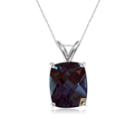 5.06-5.30 Cts of 11x9 mm AAA Elongated Cushion Checkered Lab Created Russian Alexandrite Solitaire Pendant in 14K White Gold