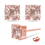 3.22 Cts of 7 mm AAA Asscher cut Four Prong Morganite Stud Earrings in 14 K Rose Gold
