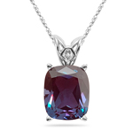 7.10-7.60 Cts Of 12x10 mm AAA Elongated Cushion Lab Created Russian Alexandrite Scroll Solitaire Pendant in 14K White Gold