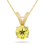 4.70-5.40 Cts of 10 mm AAA Round Texas Star Lemon Citrine Solitaire Pendant in 14K Yellow Gold