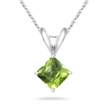 0.60-0.90 Cts Peridot Solitaire Pendant in 14K White Gold