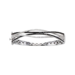 8 Inch Black & White Diamond Bangle