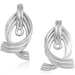 Swirl-Loop Earring Jacket Mounting in 14K White Gold
