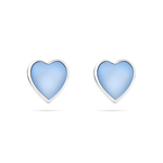 Blue Mother of Pearl Heart Stud Earrings in Silver