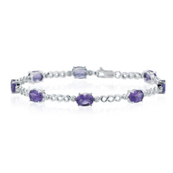 0.08 Ct Diamond & 5.50 Cts Amethyst Bracelet in 14K White Gold
