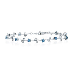 0.11 Ct Diamond & 1.02 Cts Aquamarine Bracelet in 14K White Gold - Christmas Sale