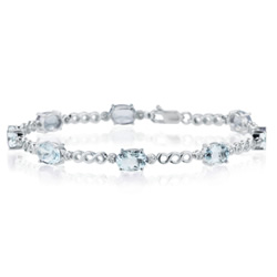 0.08 Ct Diamond & 6.00 Cts Aquamarine Bracelet in 14K White Gold