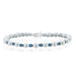 2.08 Cts Aquamarine & Akoya Pearl Bracelet in 14K White Gold