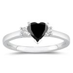1.90 Cts Black & White Diamond Classic Three Stone Ring in Platinum