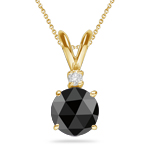 1 1/4 Cts EGL USA Certified Black & White Diamond Pendant in 18K Yellow Gold