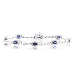 1.29 Cts Diamond &  2.90 Cts Blue Sapphire Bracelet in 14K White Gold