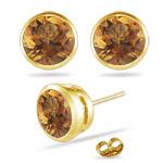0.78 Ct Citrine Stud Earrings in 14K Yellow Gold