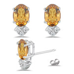 0.12 Ct Diamond &  1.20 Ct Citrine Earrings in 14K White Gold
