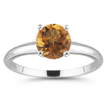 1.59 Cts of 8 mm AAA Round Citrine Solitaire Ring Four-Prong Set in 14K White Gold