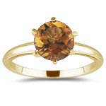 0.39 Cts Citrine Solitaire Ring in 14K Yellow Gold